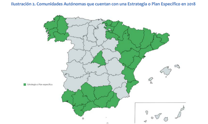 Mapa de CCAA con estrategia de inclusión de población gitana